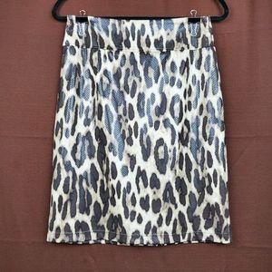 CHICO'S Traveler's Brown Leopard Pencil Skirt S